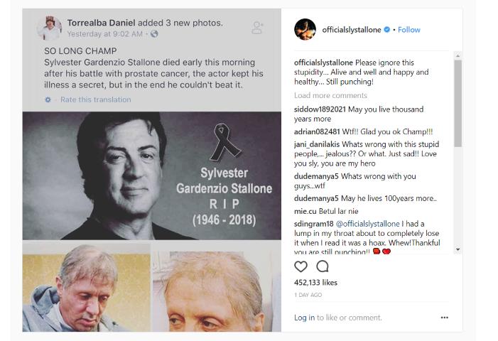 Sylvester Stallone paneigia gandus apie savo mirtį (Small)