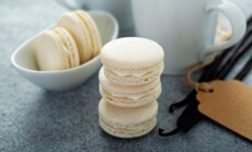 Vanilla macarons stacked
