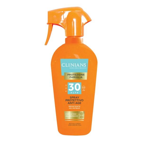 CLINIANS SPF 30 ANTI AGE purškiamasis apsauginis kūno pienelis nuo saulės, 250 ml_600x600